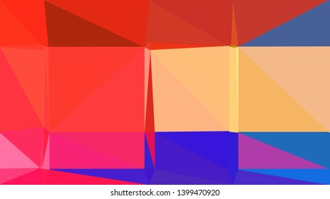 geometric triangles style in royal blue, crimson and light salmon color. abstract triangles composition. for poster, cards, wallpaper or texture.