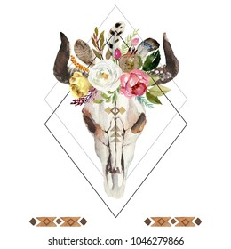 Geometric watercolor floral boho illustration with skull, horns, flowers, feathers & pomegranate - colorful bohemian flower illustration for wedding, anniversary, birthday, invitations, romance.
