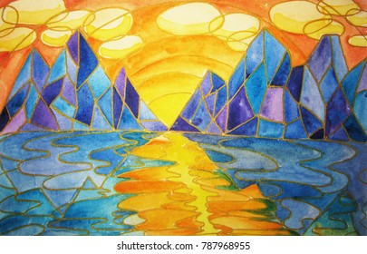 Geometric watercolor painting of a water and mountain landscape