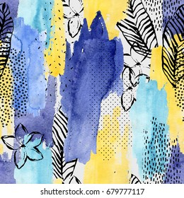 Geometric watercolor shape, tropical leaf, flower seamless pattern. Abstract drawing: palm leaves, flower, ink doodle, brush stroke, water color textures background. Hand painted striped illustration