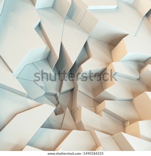 Geometric White Abstract Polygons Wallpaper Crack Stock