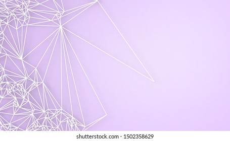 Geometric White Structure Concept Design connection Science technology art and Low poly with Purple Background - 3d rendering