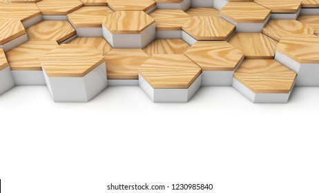 Geometric wooden hexagon pattern background. 3D rendering