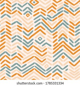 Geometrical colorful zigzag seamless pattern. Abstract striped repeat background for fabric design in pastel colors. Cute seamless texture.