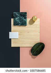 Geometrical material board 3D illustration