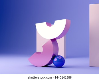 Geometrical pink metal shapes in balance. Blue plastic sphere. Blue background with pastel colors frame. Minimalist scene 3d rendering. Objects colorful composition.
