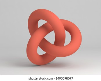 Geometrical representation of a torus knot shape. Abstract red object on white background. 3d rendering illustration