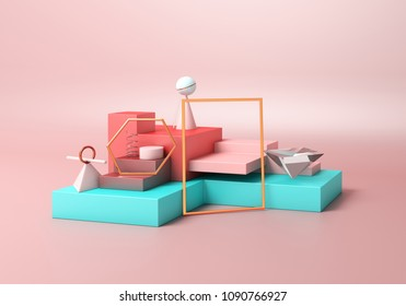 Geometry abstract composition of pastel color box, pyramid, cylinder, ball, gold rectangular hexagon on orange peach pastel background for display mockup fashion product or outfit apparel. 3D render.
