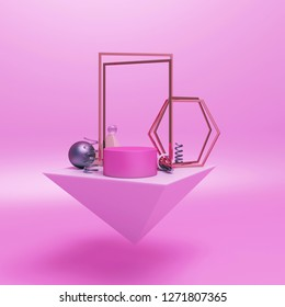 Geometry abstract composition of pink marble pyramid, cylinder, sphere ball, gold rectangular hexagon frame, helix spiral glass on pink pastel background, for product display mock up. 3D rendering.