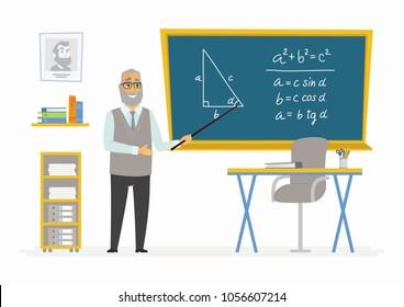 Geometry Classroom - modern character illustration of senior male school teacher of mathematics at the blackboard with formula, educational drawing, baton. Pythagoras rule, theorem explanation