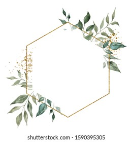 Geometry golden frame with watercolor hand draw branches of green leaves and succulents, isolated on white background
