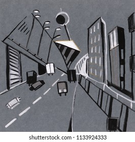 geometry of modern streets and buildings