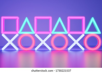 Geometry Neon lights in the room with Modern Blue Ambient lights background. 3D Render illustration.