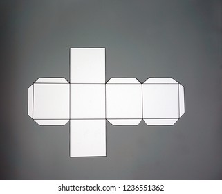 Geometry net of cube. 2-dimensional shape that can be folded to form a 3-dimensional shape or a solid. Unfolded three Dimensional Figures. Isolated. Top view.