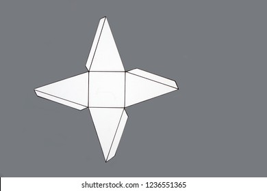 Geometry net of pyramid . 2-dimensional shape that can be folded to form a 3-dimensional shape or a solid. Unfolded three Dimensional Figures. Isolated. Top view.