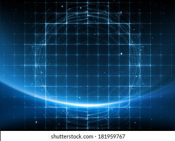 Geometry of Space series. Backdrop composed of conceptual grids, curves and fractal elements and suitable for use in the projects on physics, mathematics, technology, science and education