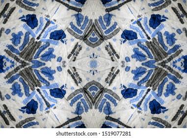 Geometry Tie Dye. Colorful Aztec. Aquamarine and White elements. Bohemian Pillow Shabby paint. Watercolor Design. Gallant Endless Wallpaper. Ocean blue Color.