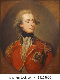 George IV as Prince of Wales, by Gainsborough Dupont, 1781, English painting, oil on canvas. The Prince had just reached his majority and already immersed in heavy drinking, multiple mistresses, and