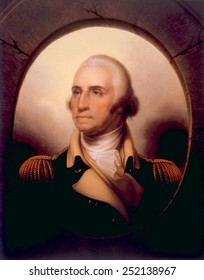 George Washington (1732-1799), U.S. President (1789-1797), portrait which hangs at his home in Mount Vernon, Virginia