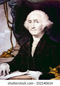 George Washington (1732-1799), U.S. President (1789-1797), lithograph by Nathaniel Currier after painting by Gilbert Stuart