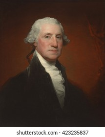 George Washington, by Gilbert Stuart (Vaughan-Sinclair portrait), 1795, American painting, oil on canvas. This is one of the 130 known portraits of Washington by portraitist Gilbert Stuart