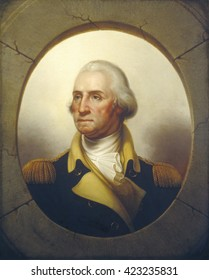 George Washington, by Rembrandt Peale, c. 1850, American painting, oil on canvas. Over two decades after Washington's death, Peale created this heroic portrait, with a tromp l'\xECil stonework oval