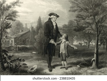 George Washington and the cherry tree. George Washington confesses to his father, Augustine Washington, engraving ca. 1846