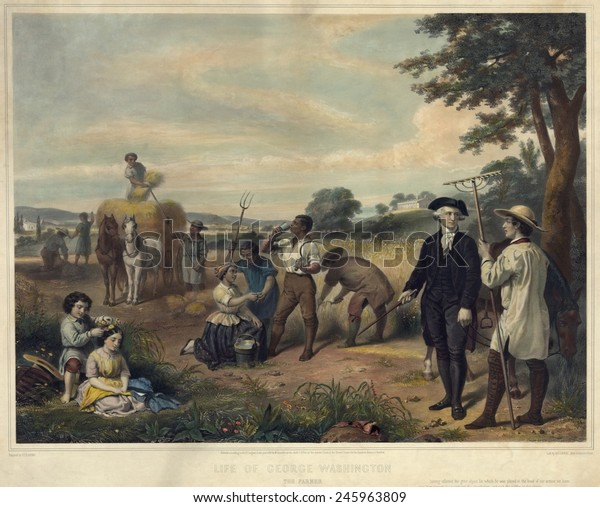 George Washington as a plantation owner. Washington standing among African-American slaves harvesting grain at Mt. Vernon in background. Lithograph by Junius Stearns 1853.