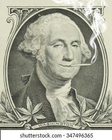 George Washington smoking a joint with pot leaves along the bottom representing legalization and decriminalization of marijuana in the United States of America