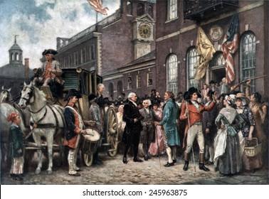 George Washington's Second Inauguration. George Washington arriving at Congress Hall in Philadelphia March 4 1793.