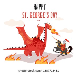 Georges day. Cartoon tradition happy saint george s green card with dragon and medieval tale legend knight shield, sword flag cross horse illustration