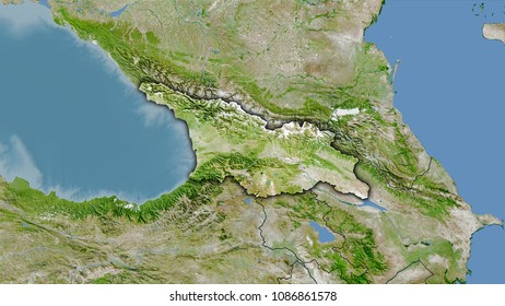Satellite Map Of Georgia.Georgia Area On Satellite D Map Stock Illustration 1086861560