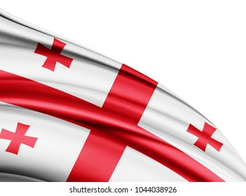 Georgia  flag of silk with copyspace for your text or images and white background-3D illustration