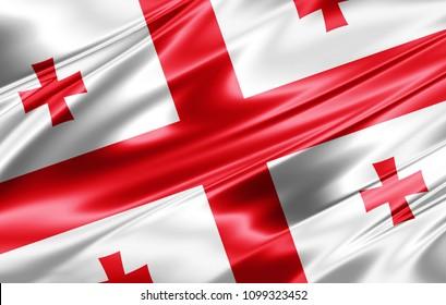 Georgia flag  of silk-3D illustration