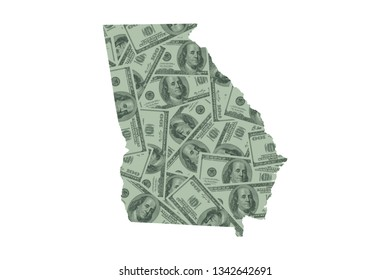 Georgia State Map and Money Concept, Hundred Dollar Bills