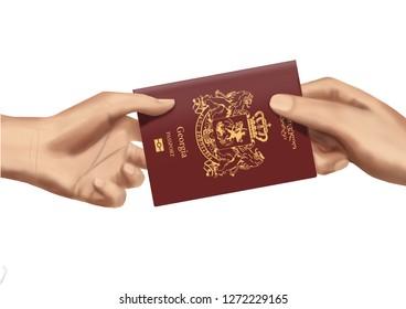 c934c3f35 Georgia Georgian Passport Hand to hand Giving pass