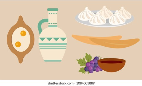Georgian traditional food and drink, Khinkali, Khachapuri,  Georgian bread, Georgian red wine
