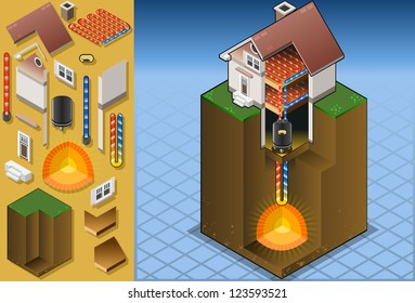 Geothermal Earth Energy Heat Pump Diagram. 3D Isometric Infographic of Geothermal Energies Chain Harvesting and Distribution Diagram. Geothermal energy Loop Thermal Energies Power Illustration
