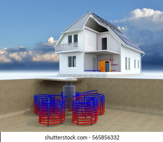 Geothermal Powered House With Solar Panels, Geothermal Heating, Alternative Geothermal energy, Under Floor Heating Systems, Energy Efficient House, Renewable Energy Home Concept - 3D Rendering