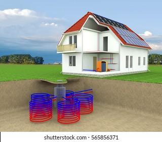 Geothermales Haus mit Solarpaneelen, Geothermie, alternative Geothermie-Energie, unter Bodenheizung, energieeffizientes Haus, Konzept für den Bereich erneuerbare Energien - 3D-Rendering