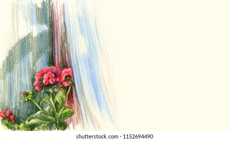 Geranium blooming flower on window sill. Open window with flying curtain. Color pencil drawing on yellow paper. Banner, card template