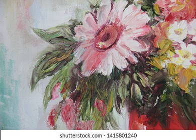 Gerbera and camomiles, oil painting on canvas, oil paintings, artwork. Pictures with different textures and colors.