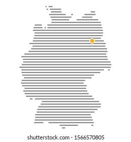 German city Berlin on grey striped map of Germany with orange dot