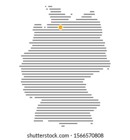 German city Hamburg on grey striped map of Germany with orange dot