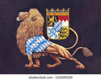 German Coat of arms Bavaria. Heraldic illustration with lion. Stylized Coat of arms.