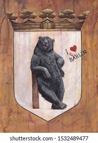 German Coat of arms Berlin. Heraldic illustration with bear. Stylized Coat of arms.
