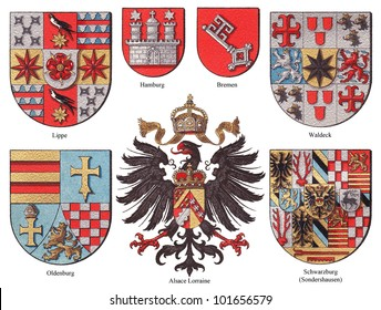 German coat of arms collection (isolated on white background) / vintage illustration from Meyers Konversations-Lexikon 1897