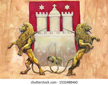 German Coat of arms Hamburg. Heraldic illustration with lions. Stylized Coat of arms.