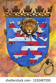 German Coat of arms Hesse. Heraldic illustration with lion. Stylized Coat of arms.