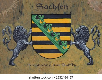 German Coat of arms Saxony. Heraldic illustration with  lions. Stylized Coat of arms.
